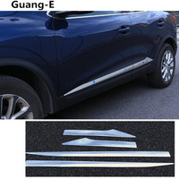 Car Cover Protection Detector Stainless Steel Side Door Body Trim Stick Strip Molding 4pcs For Renault