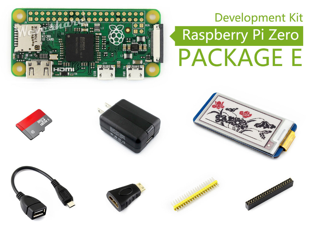 Raspberry Pi Zero V1.3 Development Kit Package E with 2.13inch e-Paper HAT + 16GB Micro SD Card and other Basic Components raspberry pi zero w package e basic development kit 16gb micro sd card power adapter 2 13inch e paper hat and basic components