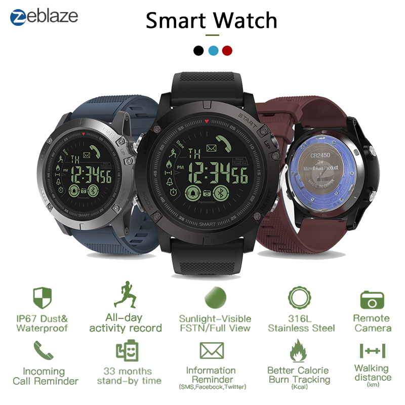 Zeblaze VIBE3 Pro IPS 3D Color Full Touch Display Smart Watch 5ATM IP67 Waterproof Smart Band Sport Watch Pedometer Heart Rate-in Smart Watches from Consumer Electronics