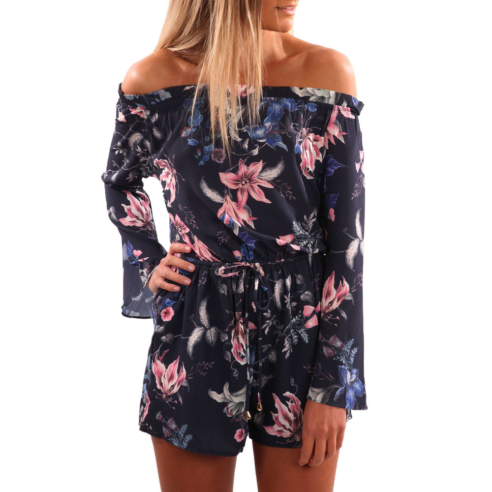Summer Womens Floral Print Jumpsuit Ladies Off Shoulder Beach Playsuit Women Spring Long Sleeve Casual Jumpsuits Rompers #YL
