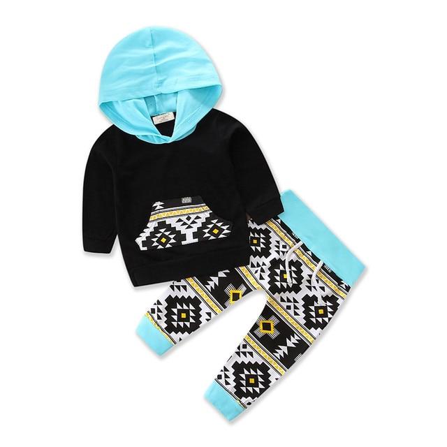 4693e7c7e4e8 Infant Newborn Baby Boy Clothes Hoodie Tops T shirt Cotton Geometric ...