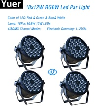 Free Shipping Eyourlife 4Pcs/Lot 18x12W RGBW Led Par Light DMX Stage Lights Professional Flat Can for Party KTV DiscoDJ Lamp