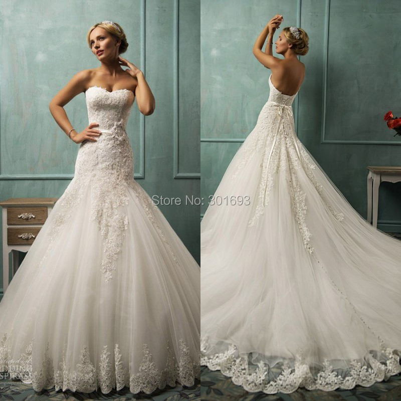 Ow73 New Model Trumpet Mermaid Lace Liques Long Catherdral Royal Train Wedding Dresses With Ons Down Back In From Weddings Events