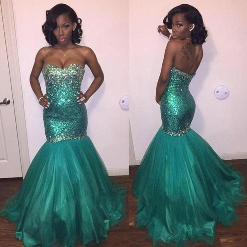 Strapless long tulle mermaid prom dress
