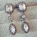 2016 nova moda de luxo do Vintage grande pedra de cristal gota de água longa brincos para mulher 1E128