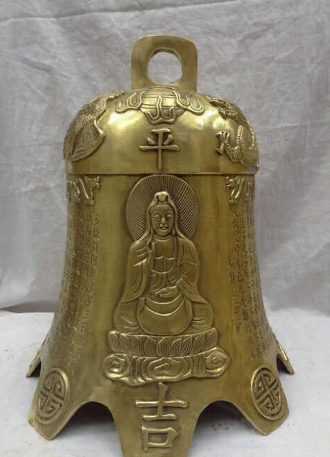 "ZSR912 + + + 16 ""中国ブロンズ仏教ドラゴンフェニックス像釈迦牟尼関陰寺ベル"