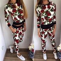 Осень комплект из 2 предметов женские штаны и топы 2017 повседневные комплекты с длинными рукавами Цветочный принт костюмы модные спортивные ...