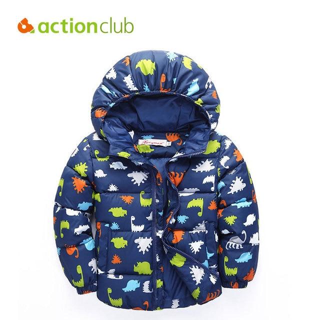 Actionclub Children Winter Coat Kids Thicken Jacket Boys Girls Warm Hooded Outerwear Winter Dinosaur Print Cotton Parkas Clothes