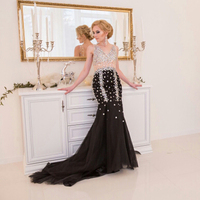 Amazing Robe De Soiree Black Long Mermaid Evening Dress 2016 Rhinestones Special Occasion Prom Dresses Women