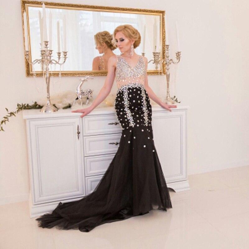 Schwarzes Meerjungfrau-Abend-Partykleid lang 2018 LORIE Robe De Soiree Strasssteine Besondere Anlässe Ballkleider Formale Abendkleider