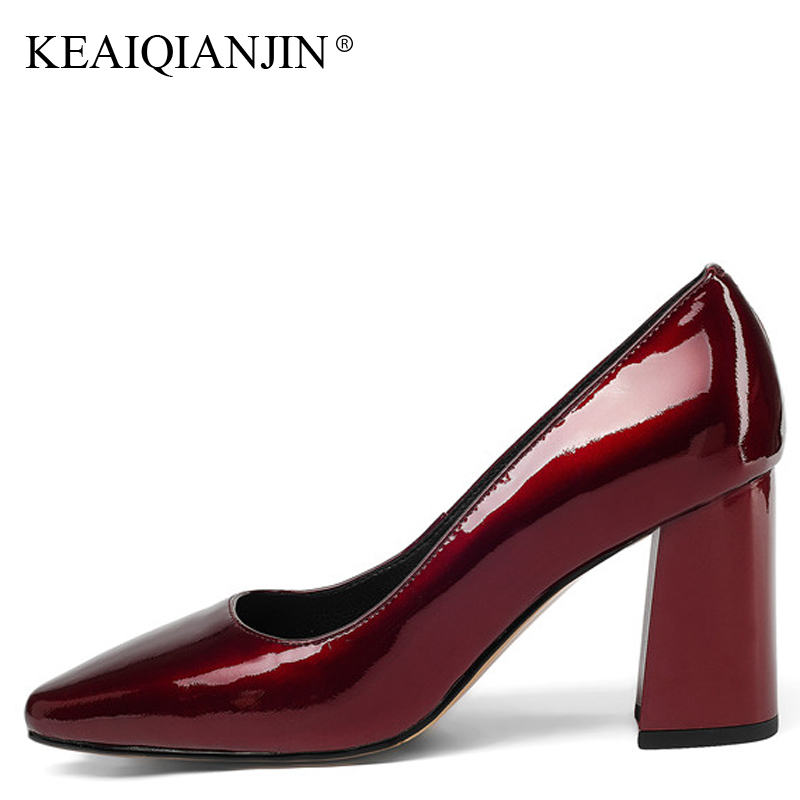 KEAIQIANJIN Woman Wine Red Pumps Sexy Cow Leather Green High Heels Shoes Plus Size 32 - 42 Pointed Toe Genuine Leather Pumps keaiqianjin woman patent leather pumps plus size 33 43 high shoes spring autumn metal decoration black genuine leather pumps