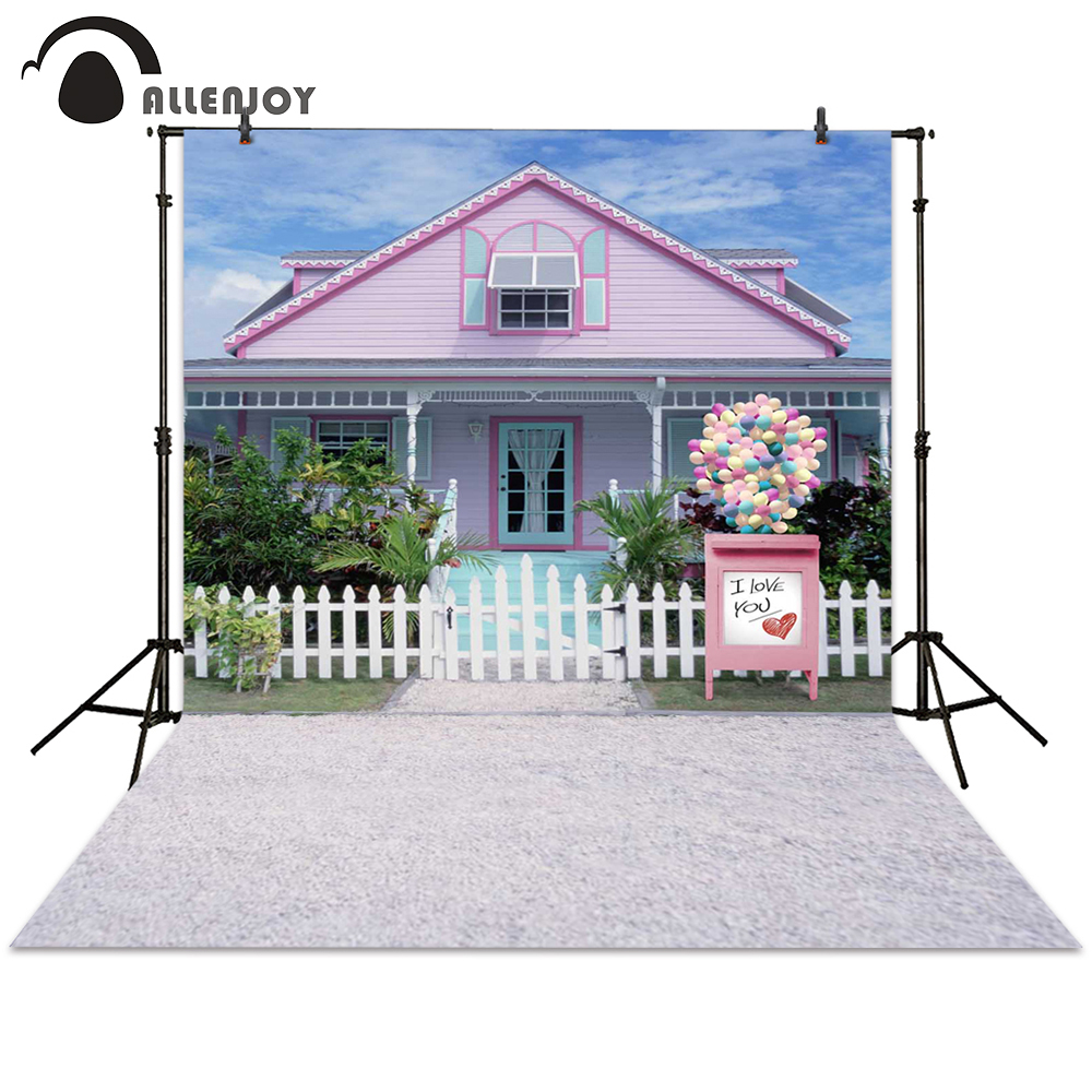 Allenjoy backdrop photography love fence balloon house pink background photocall photographic photo studio wedding