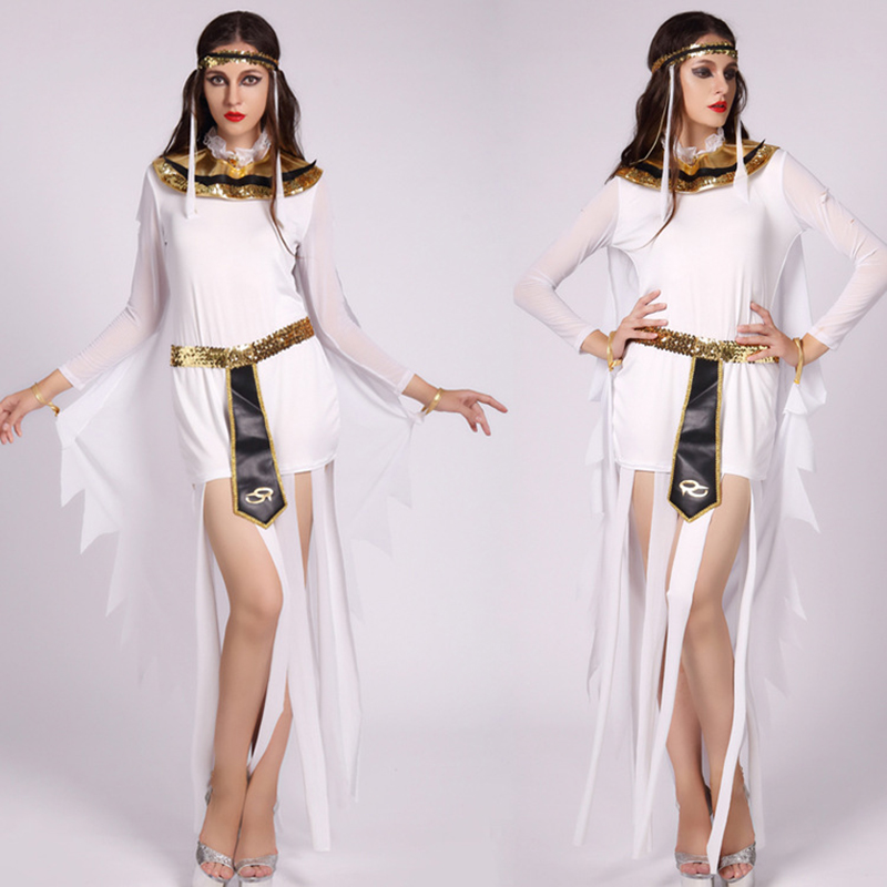 New Halloween cosplay costume women's game uniform white tassel dress role-playing ancient Cleopatra queen dress Arab clothing p