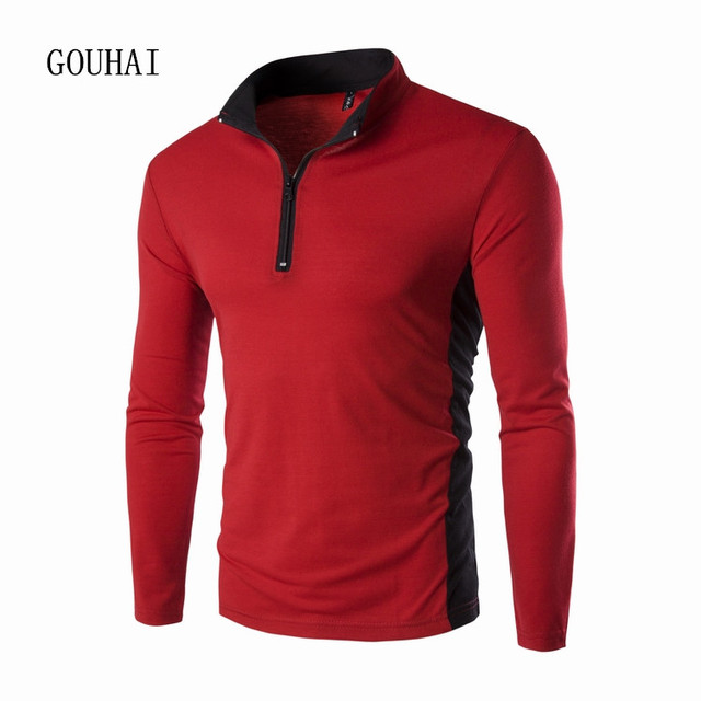 Men Polo Shirt Long Sleeve Slim Fit Shirt Male Cotton Polo Shirts Patchwork Zipper Autumn Casual Shirts Breathable