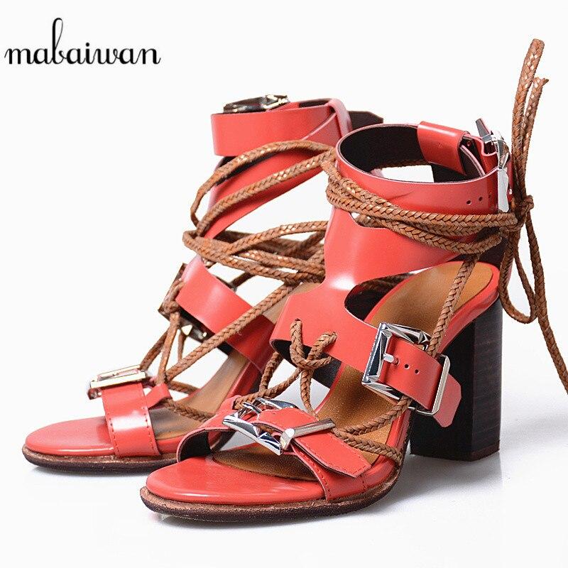 купить Mabaiwan Women Summer Sandals Flip Flops High Heels Genuine Leather Dress Casual Shoes Women Ankle Strap Slippers Buckle Pumps онлайн