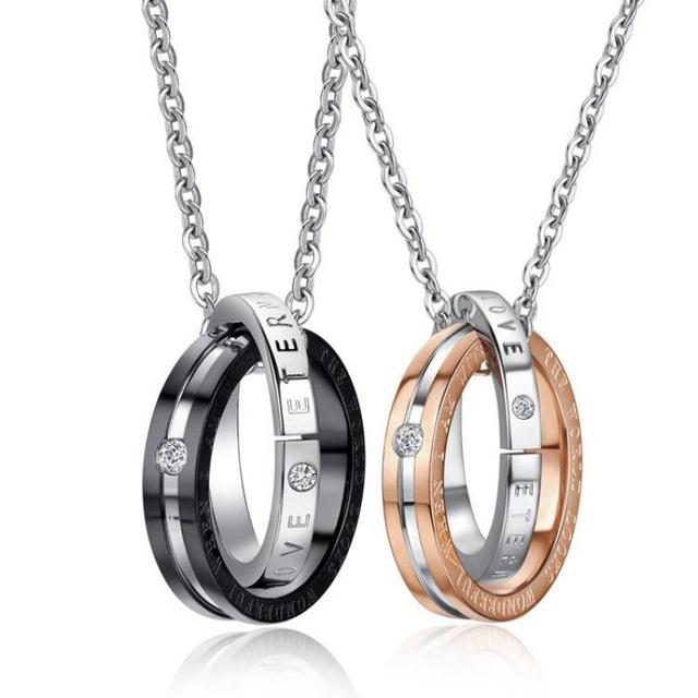 b7381feaab Couple Necklaces & Pendants 316l Stainless Steel Eternal Love Lettering  Name His And Her Promise Necklace Set Fashion Jewelry