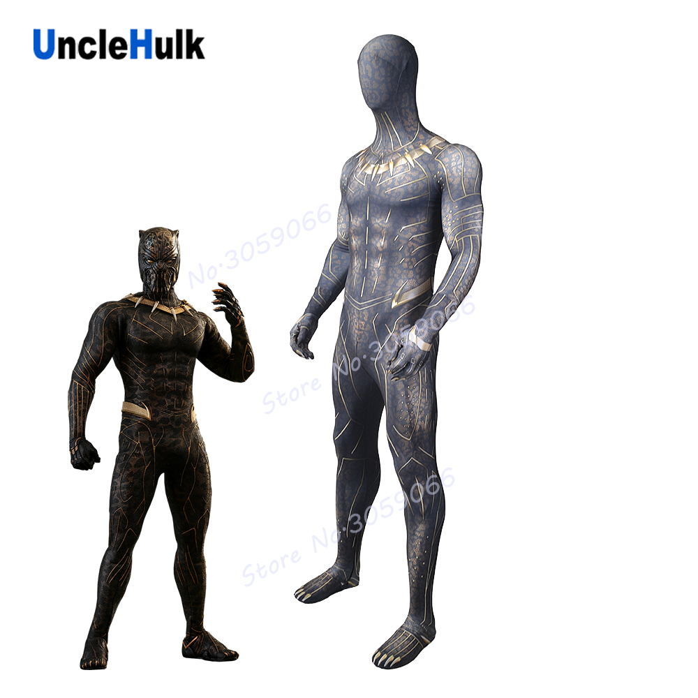 Erik Killmonger Golden Jaguar Movie Black Panther 2018 Lycra Spandex Zentai Suit Cosplay Costume | UncleHulk