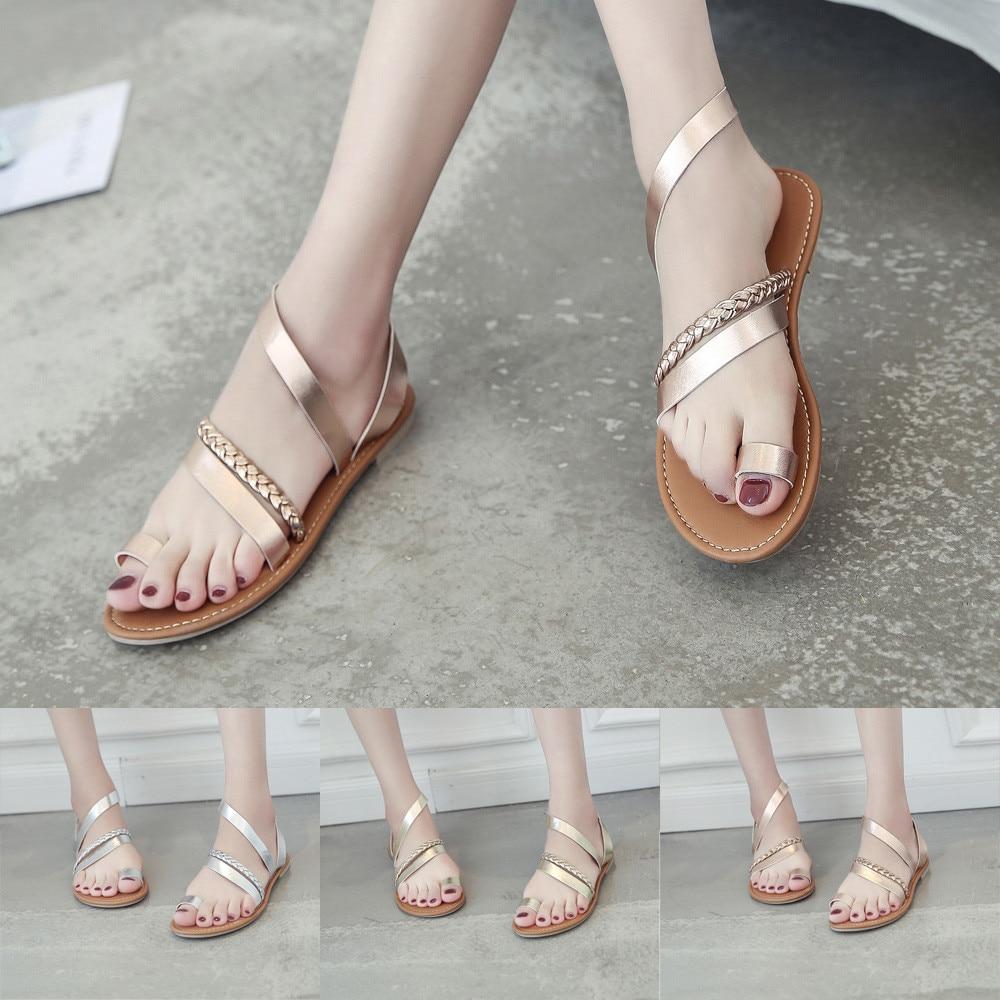 Womens Flat Gladiator Buckle Sandals Summer Beach Peep Toe Flip Flop Shoes Size9
