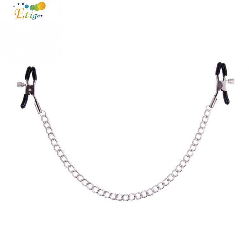 New Sexy Toy Nipple Clamps Chain Set Masturbation Clamps With 1pcs Stainless Steel Chain Breast Clamp Sex Toy Size Adjustable
