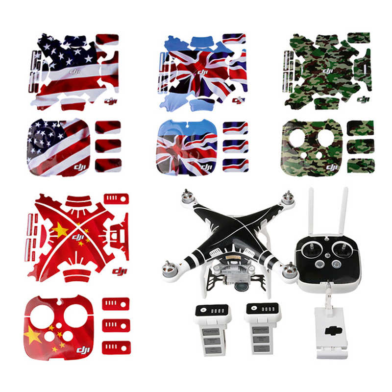 DJI Phantom 3 Waterproof Decals Graphic Wrap Skin Decal Stickers for DJI phantom3 Drone body +remote control+battery accessories