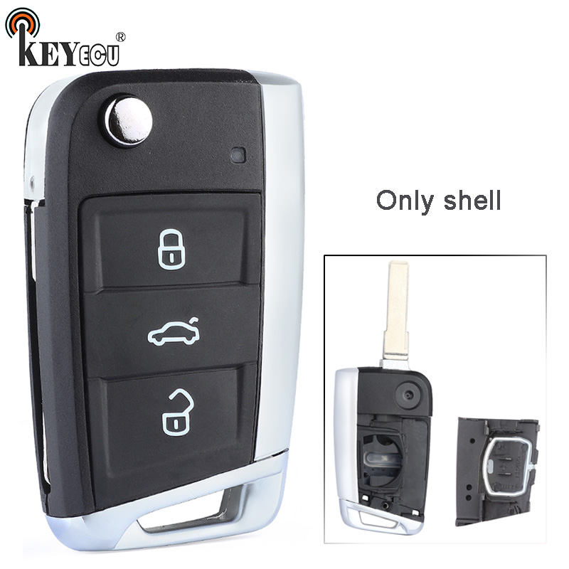 KEYECU for V*W Volks*wagen <font><b>Golf</b></font> <font><b>7</b></font> GT*I MK7 Skoda Octavia A7 Seat Modified Flip Folding 3 Button <font><b>Remote</b></font> Car <font><b>Key</b></font> Shell Case Fob image