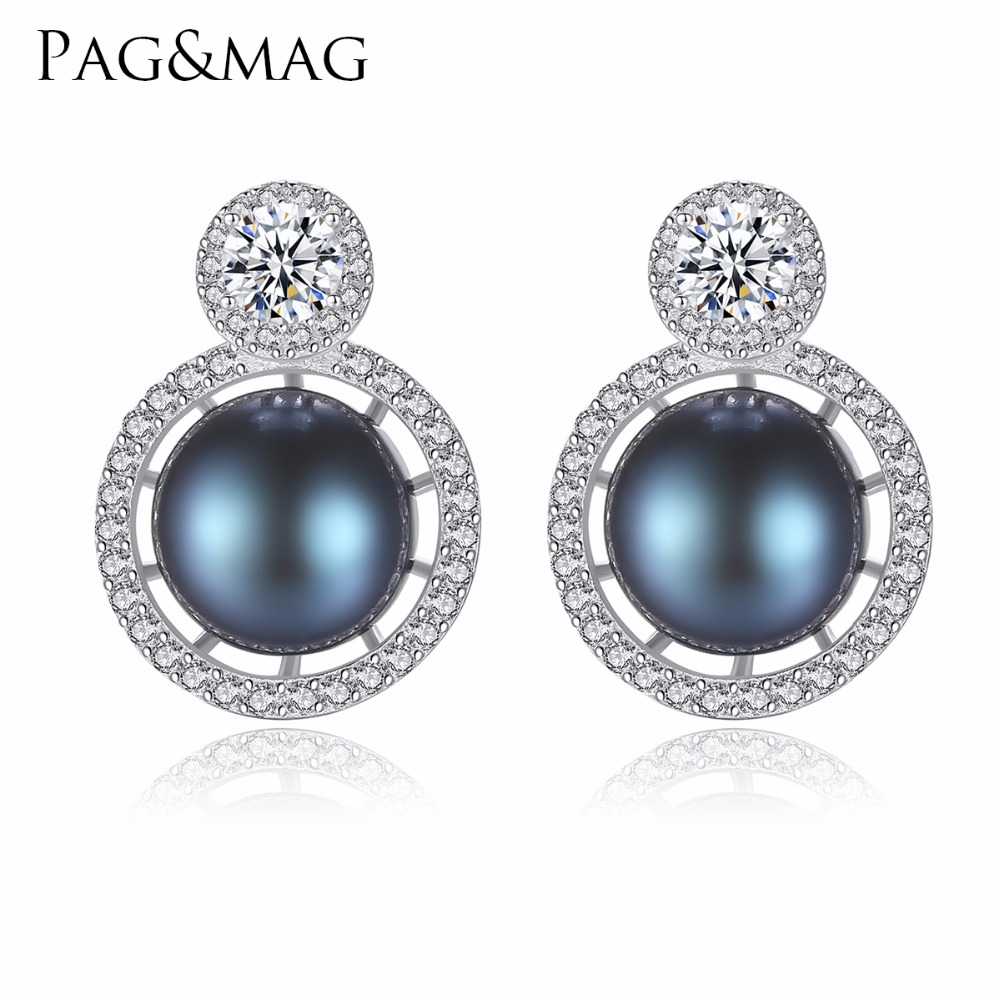 PAG&MAG Brand 8-8.5 mm 100% Natural Freshwater Pearl Earrings Jewelry 925 Sterling Silver Brincos Zircon Stud Earrings For Women 925 sterling silver sweet butterfly pearl earrings for women gift zircon rhinestone stud earrings sterling silver jewelry