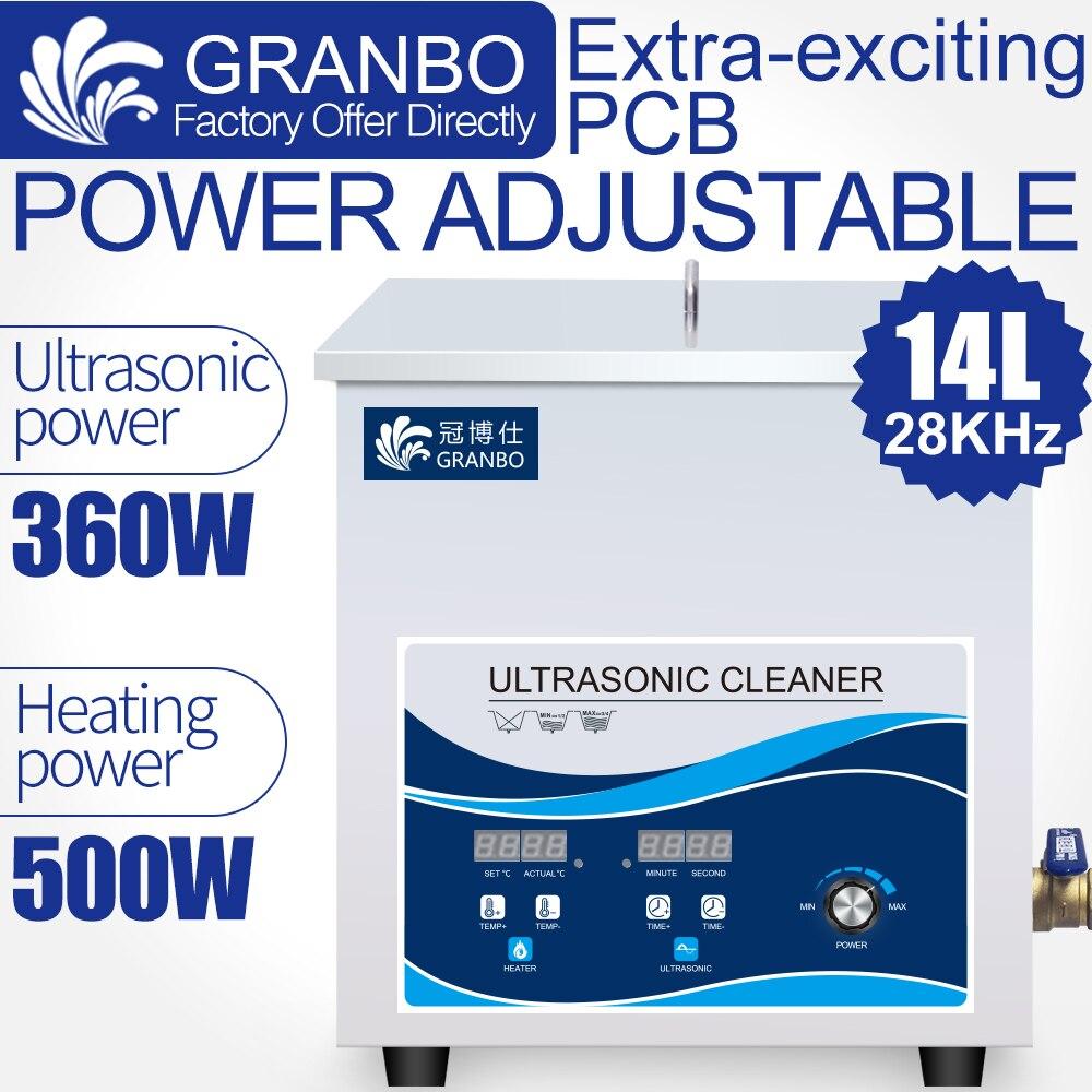 Nettoyeur à ultrasons 14L 360W 28KHZ Machine de nettoyage industrielle contrôle de puissance réglable enlever l'huile lourde rouille cire de carbone