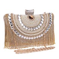 Beaded women evening bags tassel rhinestones clutches evening bag diamonds purse diamonds messenger holder evening bags