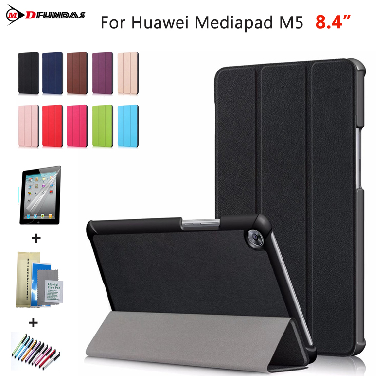 Cases For Huawei Mediapad M5 8.4 inch Case On For Huawei M5 8.4 Cover SHT-AL09 Flip Leather Auto-Sleep Tri-folding Tablet Funda silicone with bracket flat case for huawei mediapad m5 8 4 inch
