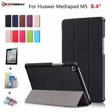 Cases For Huawei Mediapad M5 8.4 inch Case On For Huawei M5 8.4 Cover SHT-AL09 Flip Leather Auto-Sleep Tri-folding Tablet Funda new printed pu leather magnetic smart stand case for huawei mediapad m5 8 4 sht al09 sht w09 tablet protective cover film stylus