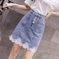2019 summer women denim skirt lace patchwork pattern a line high waist midi skirt tulle skirt jean skirt wrap skirt