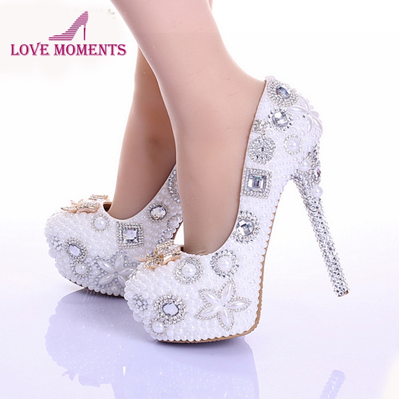 Spring Newest Style Bowtie Rhinestone Wedding Shoes White Pearl Genuine Leather Handmade Ultra High Heel Bridal Dress ShoesSpring Newest Style Bowtie Rhinestone Wedding Shoes White Pearl Genuine Leather Handmade Ultra High Heel Bridal Dress Shoes