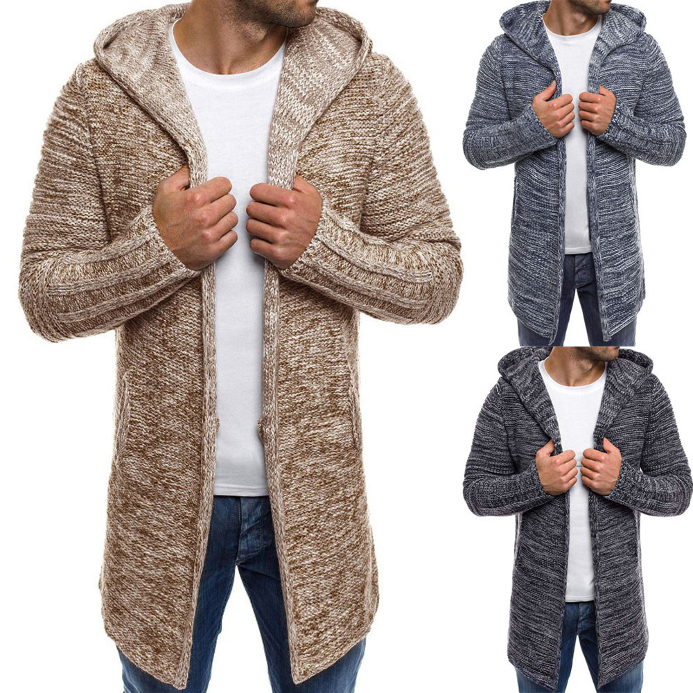 Open-Minded Hoodie For Mens Hooded Solid Knit Trench Coat Jacket Cardigan Long Sleeve Outwear Blouse#nfa Men's Clothing