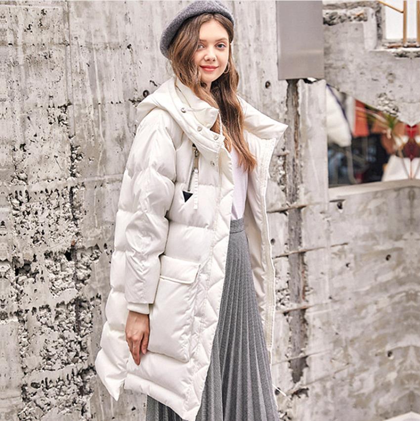 Manteau Le Éclair Couture Style Grande Marque De Noir Fermeture Wq883 Canard Mode Bas Capuchon Parkas Poche Hiver Duvet Oversize Clorak white Chaud À Vers Femelle qzHOa7qn