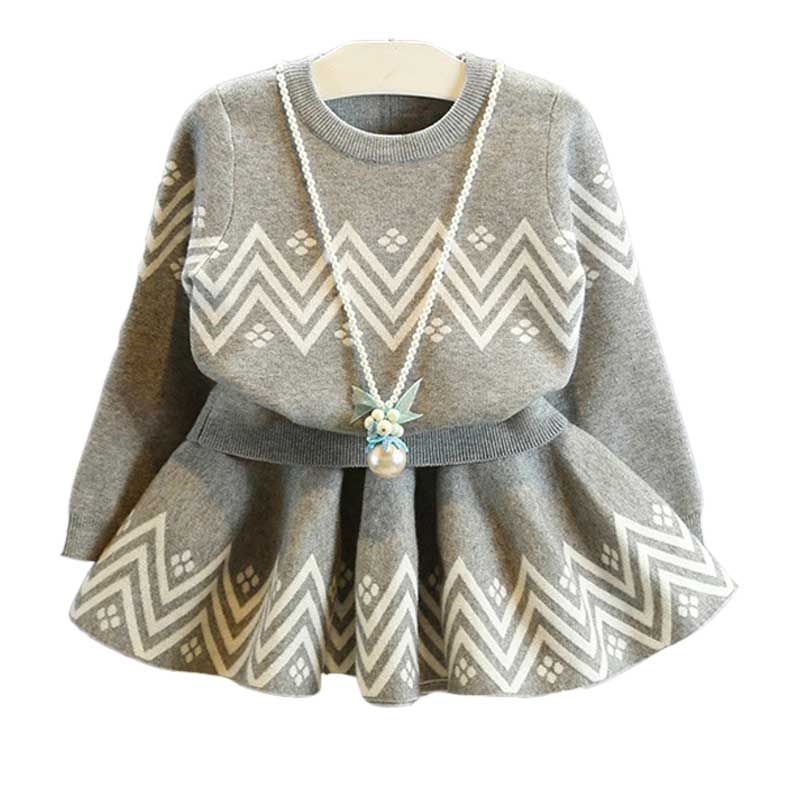 3-7T Baby Girls Clothes Geometric Print Tops Pleated Skirt Girls Clothing Set Children Clothing Two Piece Kids Clothes Outfits jilly kingdom summer style girls clothing set baby girls clothes set lovely toddler girl tops pants girls suit kids clothes 3 7t
