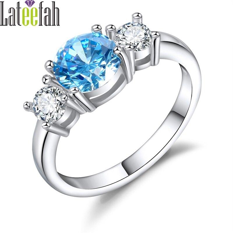Lateefah Vintage Three Stones Engagement Wedding Rings for Women Imitation Aquamarine Female Birthstone Ring Jewelry Anel Bague