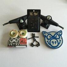 Skateboard Parts UNION 5.25″ Skateboard Trucks PIG 51mm Skate Wheels & ABEC-3 Bearings Plus Royal Riser Pads & A Hardware Set