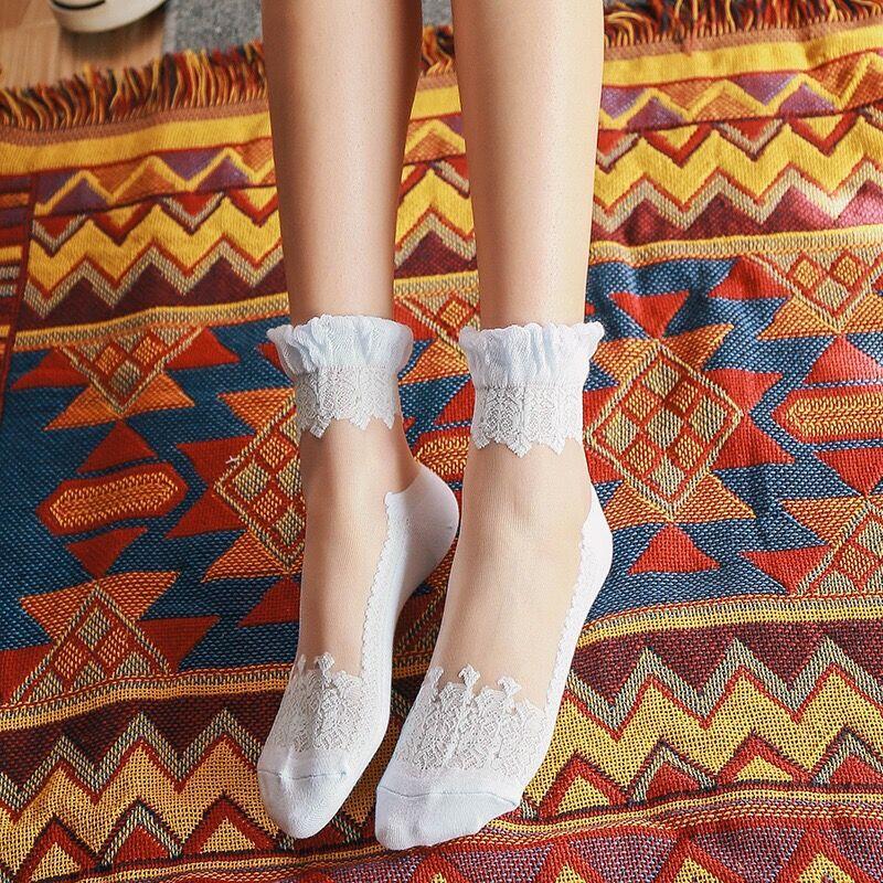 Women cute Lace Ruffle Ankle Socks palace style Soft Silk Elastic Mesh Knit Frill Trim Transparent summer Women's socks