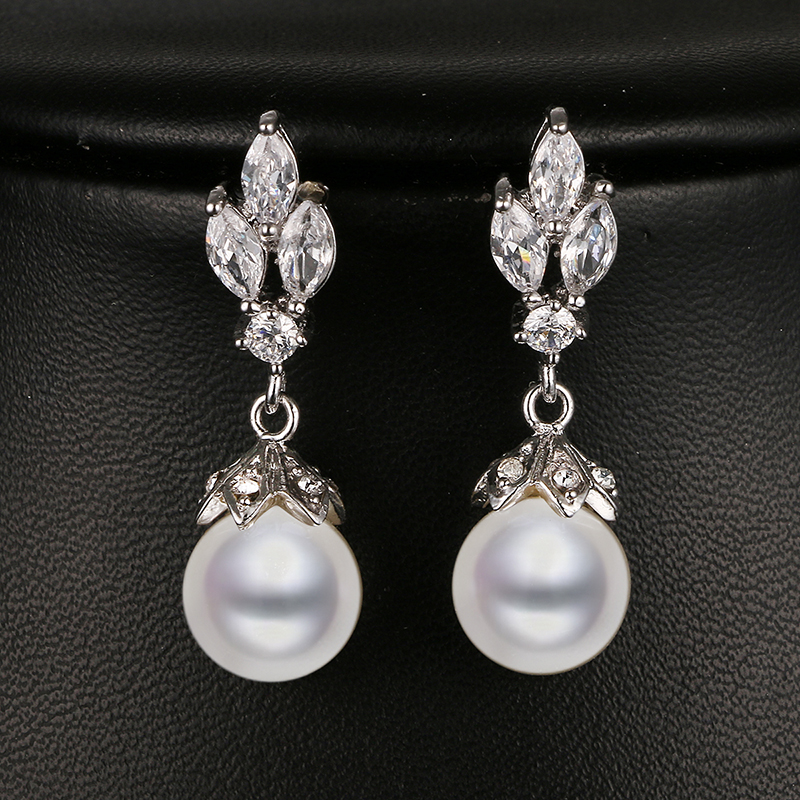 Emmaya Fashion Marquise Shape Cz Pearl Earring White Gold Color Bridal Wedding Earring New Arrival Beautiful Gift