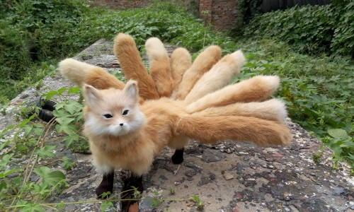 new simulation fox model plastic&fur yellow walking nine-tails fox doll gift 46x23cm a171 цена и фото