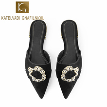 KATELVADI Summer Flats Heel Mules Women Shoes Slides Causal Ladies Pointed Toe Black Flock Slippers  K-395