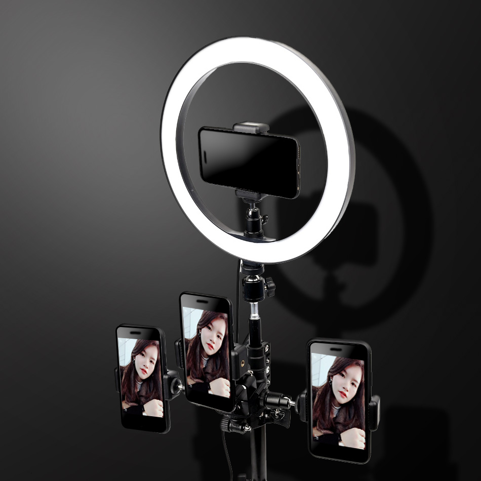 26cm Dimmable LED Selfie Ring Light Youtube Video Live Makeup Photography Lighting Photo Studio Light With Tripod Phone Holder