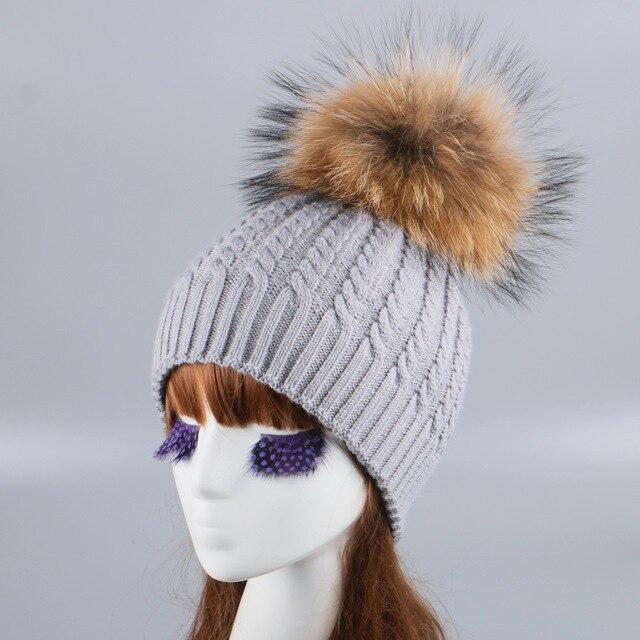 Donne di marca di inverno lavorato a maglia cappello cap reale visone volpe  pom sfera lusso dd32e17bb710
