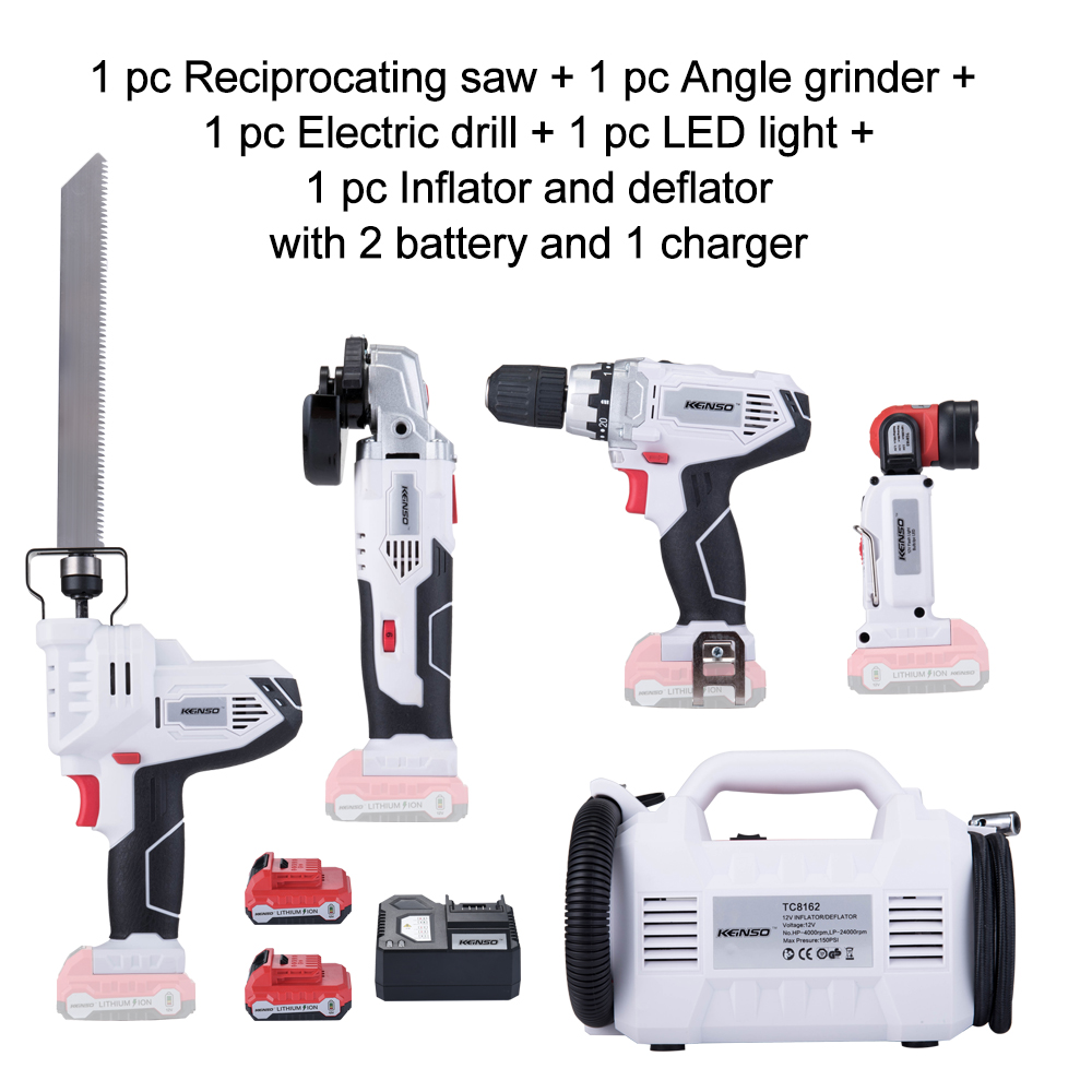 Keinso 12V Angle grinder Electric drill LED light Inflator and deflator Electric Saw with two lithium