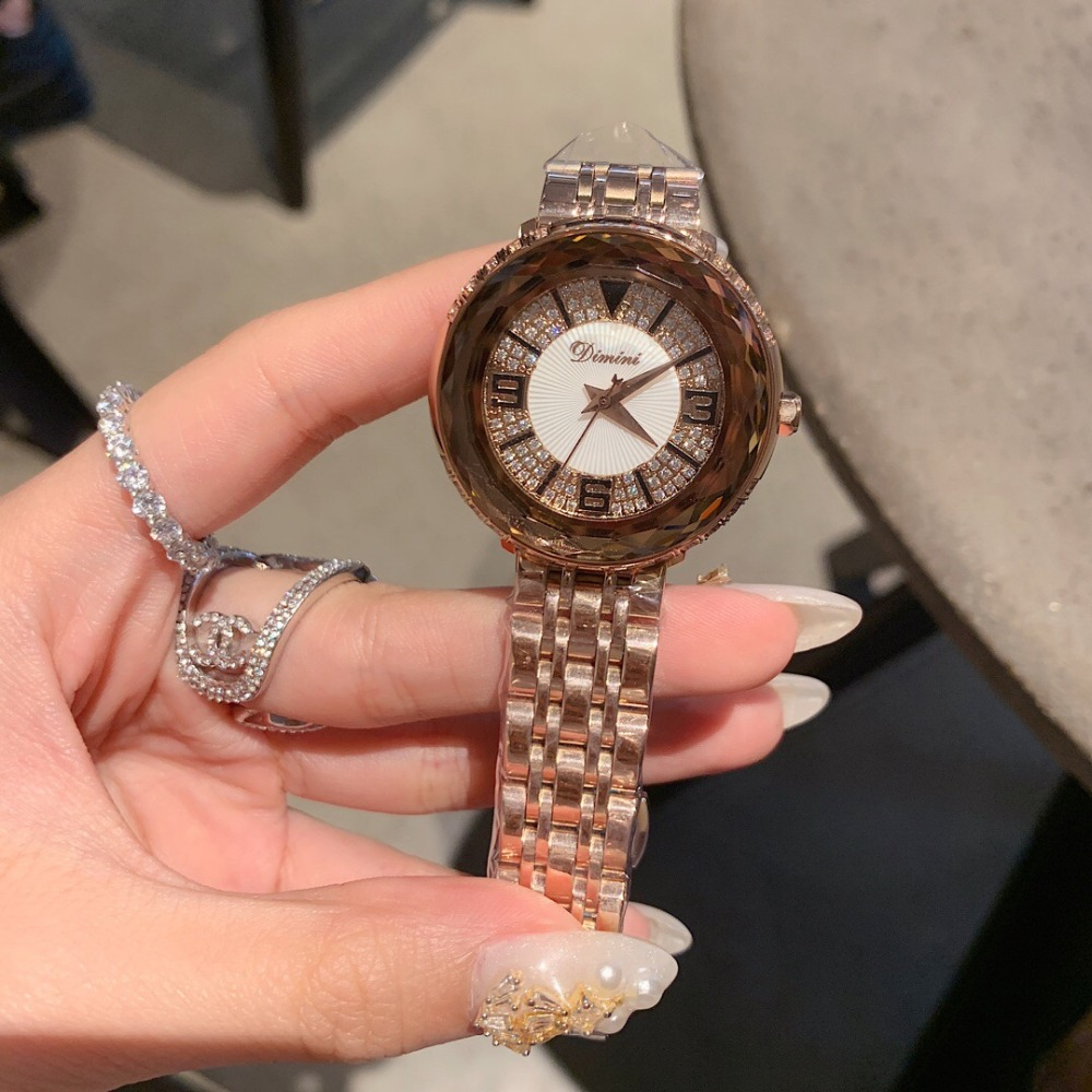 Classic Neutral Design Women Big Size Stainless Steel Bracelet Watches Exaggerated Multi Faceted Glass Crystals Watch Waterproof