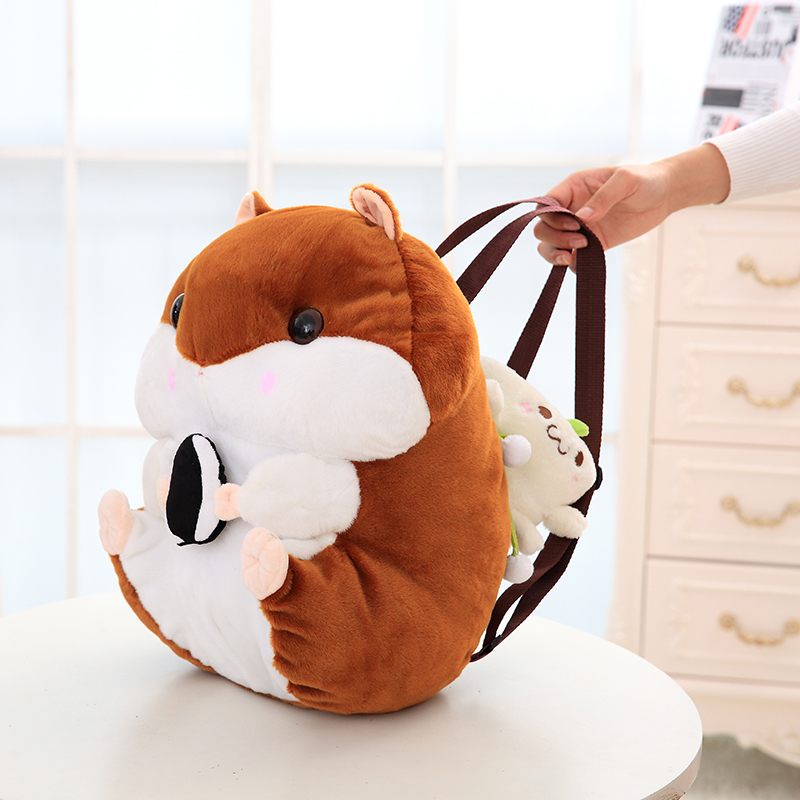 Cute 40cm Amuse Brown White Hamster Plush Backpack Soft Doll Squirrel Animal Stuffed Toy Bag For Girls Baby Kids Birthday Gifts 20cm cute hamster mouse plush toy stuffed soft animal hamtaro doll lovely kids baby toy kawaii birthday gift for children