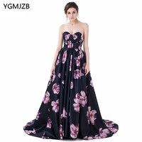 Новое поступление, Вечерние Платья с цветочным принтом 2018, ТРАПЕЦИЕВИДНОЕ милое платье длиной до пола с коротким шлейфом, платье для выпуск