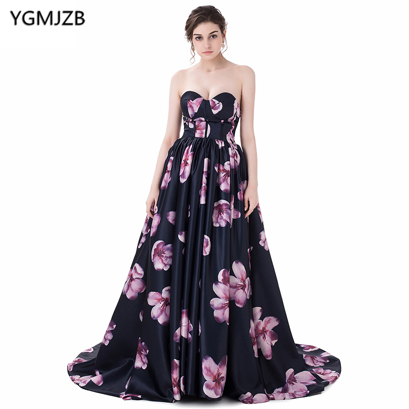 New Arrival Floral Print   Evening     Dresses   2018 A Line Sweetheart Sweep Train Floor Length Prom   Dress   Backless Long   Evening   Gown
