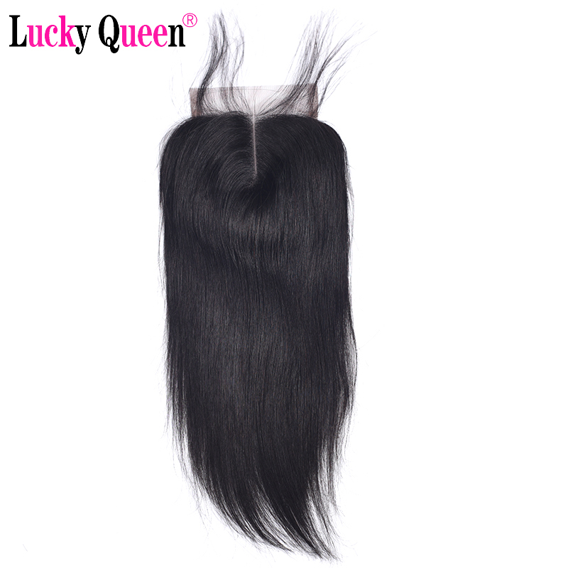 Brazilian Straight 4*4 Human Hair Lace Closure With Baby Hair 130% Density Swiss Lace Non Remy Hair Lucky Queen Hair