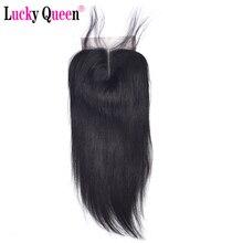 Lucky Queen Peruaanse Straight Remy Human Hair 4x 4/5X5 Hd Vetersluiting Met Baby Haar Pre geplukt Voor Zwarte Vrouwen Zwitserse Kant